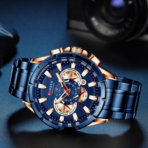 CURREN Wrist Watch Men Waterproof Chronograph Military Army Stainless Steel Male Clock Top Brand Luxury Man 4 CURREN Wrist Watch Men Waterproof Chronograph Military Army Stainless Steel Male Clock Top Brand Luxury Man Sport Watches 8363