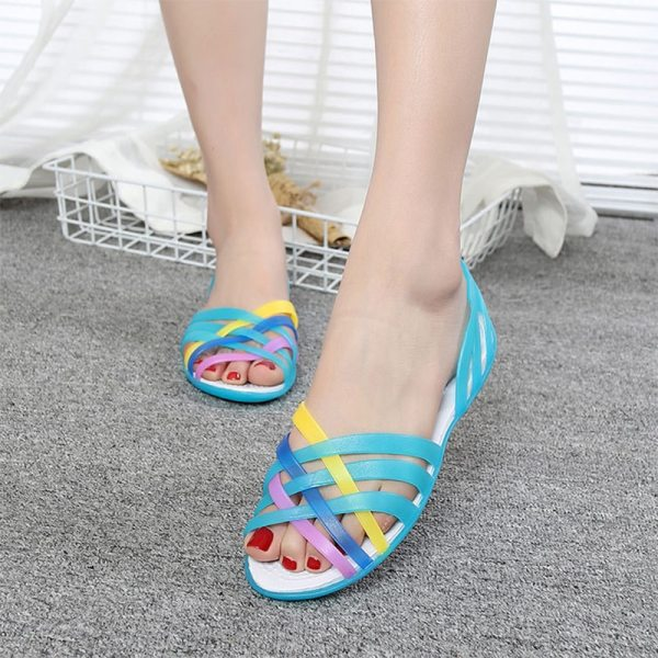 MCCKLE Women Jelly Shoes Rainbow Summer Sandals Female Flat Shoes Ladies Slip On Woman Candy Color 2 MCCKLE Women Jelly Shoes Rainbow Summer Sandals Female Flat Shoes Ladies Slip On Woman Candy Color Peep Toe Women's Beach Shoes