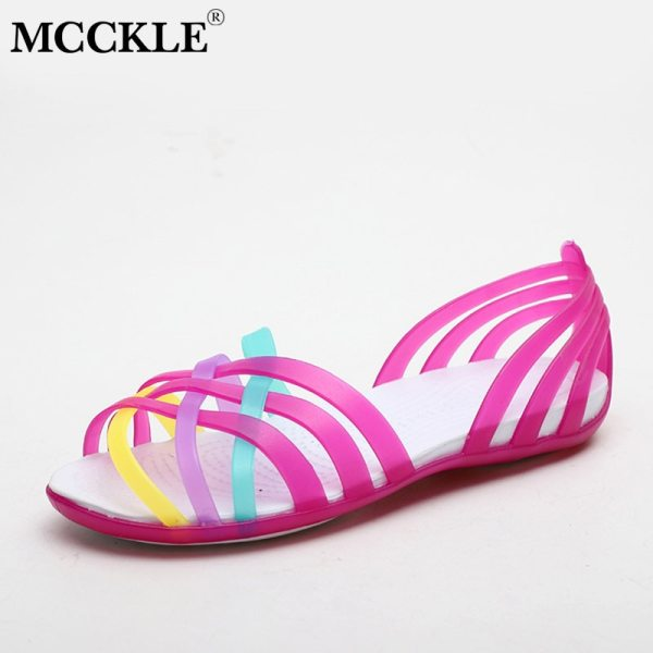 MCCKLE Women Jelly Shoes Rainbow Summer Sandals Female Flat Shoes Ladies Slip On Woman Candy Color 3 MCCKLE Women Jelly Shoes Rainbow Summer Sandals Female Flat Shoes Ladies Slip On Woman Candy Color Peep Toe Women's Beach Shoes