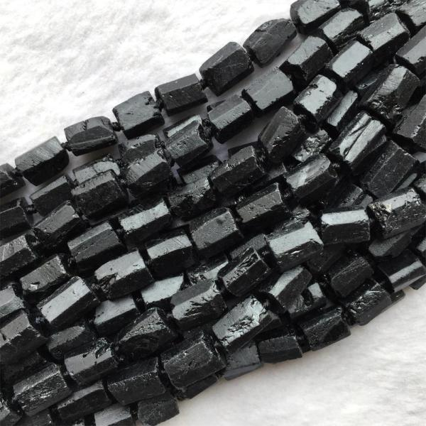 """Natural Genuine Raw Mineral Black Tourmaline Hand Cut Nugget Free Form Loose Rough Matte Faceted Beads 5 Natural Genuine Raw Mineral Black Tourmaline Hand Cut Nugget Free Form Loose Rough Matte Faceted Beads 6-8mm 15"""" 06005"""