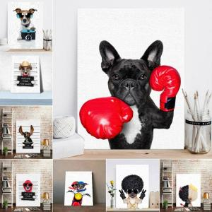 Nordic Style Boxing Dog Canvas No Frame Art Print Painting Poster Funny Cartoon Animal Wall Pictures Innrech Market.com
