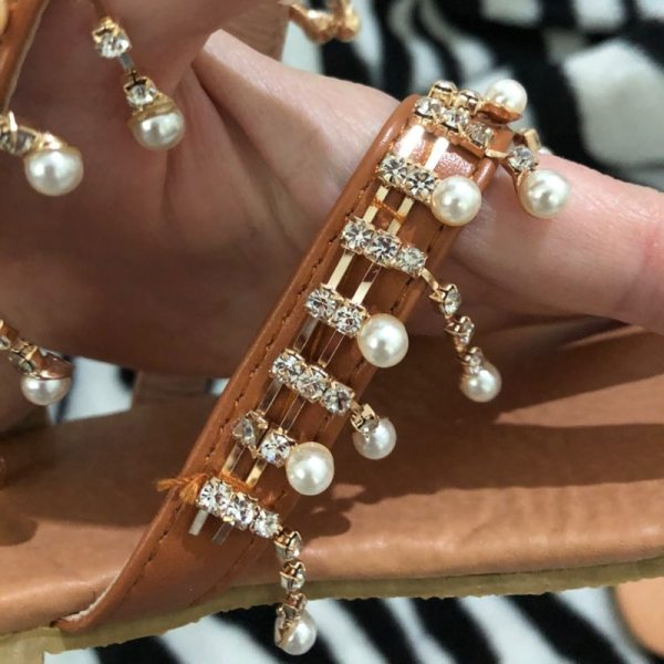 Women sandals summer shoes flat pearl sandals comfortable string bead slippers women casual sandals size 34 4 Women sandals summer shoes flat pearl sandals comfortable string bead slippers women casual sandals size 34 - 43