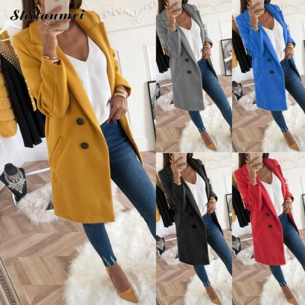 2018 New Women Long Sleeve Turn Down Collar Outwear Jacket Wool Blend Coat Casual Autumn Winter 1 2018 New Women Long Sleeve Turn-Down Collar Outwear Jacket Wool Blend Coat Casual Autumn Winter Elegant Overcoat Loose Plus Size