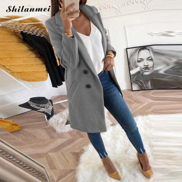 2018 New Women Long Sleeve Turn Down Collar Outwear Jacket Wool Blend Coat Casual Autumn Winter 2018 New Women Long Sleeve Turn-Down Collar Outwear Jacket Wool Blend Coat Casual Autumn Winter Elegant Overcoat Loose Plus Size