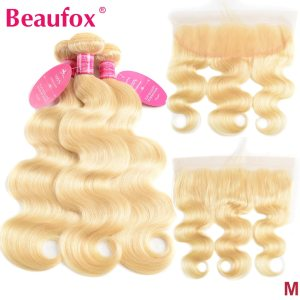Beaufox 613 Blonde Bundles With Frontal Brazilian Body Wave With Frontal Remy Blonde Human Hair Lace Innrech Market.com