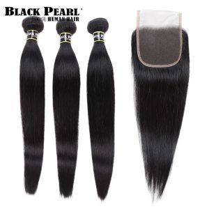 Black Pearl Pre Colored 3 Bundles with Closure Straight Human Hair Bundles with Closure Brazilian Hair Innrech Market.com