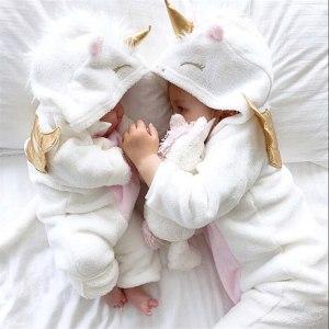 Emmababy Baby Girl 3D Unicorn Flannel Rompers Fashion ropa bebe girls Cartoon Hooded warm zipper Jumpsuit Innrech Market.com