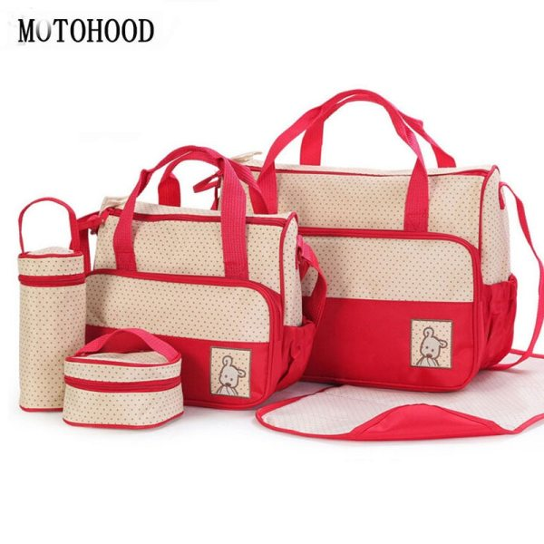 MOTOHOOD 39 28 5 17CM 5pcs Baby Diaper Bag Suits For Mom Baby Bottle Holder Mother MOTOHOOD 39*28.5*17CM 5pcs Baby Diaper Bag Suits For Mom Baby Bottle Holder Mother Mummy Stroller Maternity Nappy Bags Sets
