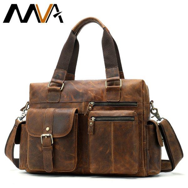 MVA Genuine Leather Men s Briefcase Messenger Bag Men s Leather Laptop Bag For men Office MVA Genuine Leather Men's Briefcase Messenger Bag Men's Leather Laptop Bag For men Office Bags For Men Briefcase Handbags 8537