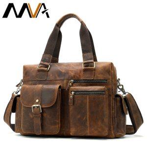 MVA Genuine Leather Men s Briefcase Messenger Bag Men s Leather Laptop Bag For men Office Innrech Market.com