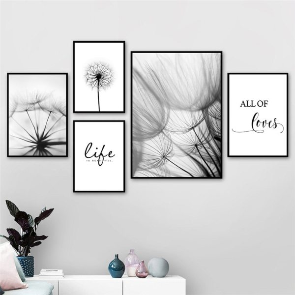 Nordic Dandelion Art Canvas Painting Posters And Prints Black White Loves Life Quotes Wall Pictures For Nordic Dandelion Art Canvas Painting Posters And Prints Black White Loves Life Quotes Wall Pictures For Living Room Decor AL133