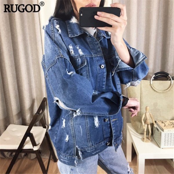 RUGOD Basic Coat Bombers Vintage Fabric Patchwork Denim Jacket Women Cowboy Jeans 2019 Autumn Frayed Ripped 3 RUGOD Basic Coat Bombers Vintage Fabric Patchwork Denim Jacket Women Cowboy Jeans 2019 Autumn Frayed Ripped Hole Jean Jacket