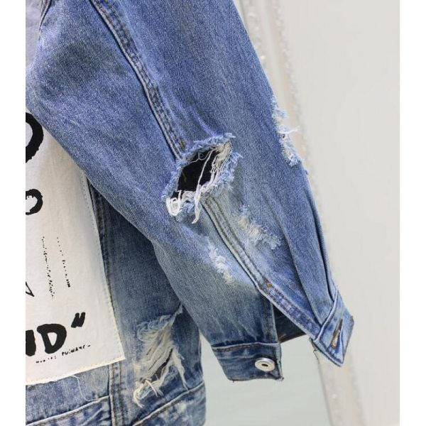 RUGOD Basic Coat Bombers Vintage Fabric Patchwork Denim Jacket Women Cowboy Jeans 2019 Autumn Frayed Ripped 5 RUGOD Basic Coat Bombers Vintage Fabric Patchwork Denim Jacket Women Cowboy Jeans 2019 Autumn Frayed Ripped Hole Jean Jacket