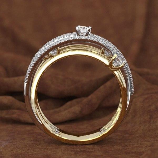 14K 3 Colors Gold Diamond Ring for Women Vintage Fashion Topaz Zircon Gemstone Bizuteria Anillos Sliver 4 14K 3 Colors Gold Diamond Ring for Women Vintage Fashion Topaz Zircon Gemstone Bizuteria Anillos Sliver Jewelry Engagement Ring