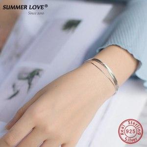 2018 New Simple Multilayer Tassel Snake chain Bracelet Genuine 100 925 Sterling Silver jewelry for women Innrech Market.com