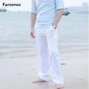 2019 Casual Pants for Men Cotton Linen Straight Trousers White Linen Elastic Waist Leisure Beach Man Innrech Market.com