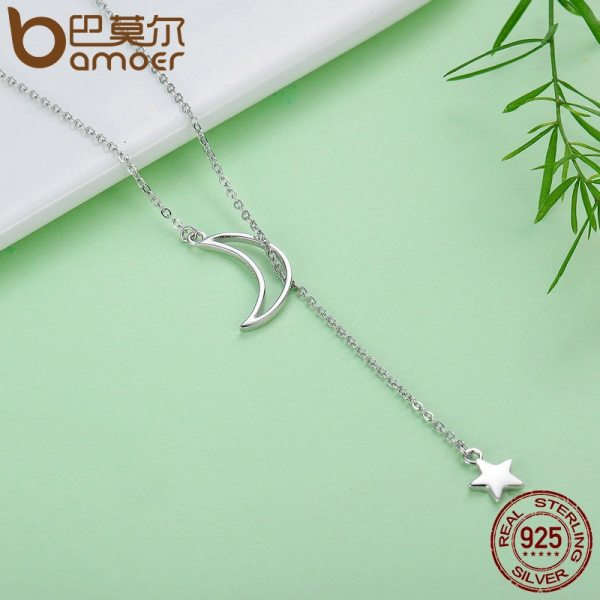 BAMOER New Arrival Fashion 925 Sterling Silver Moon and Star Tales Chain Link Pendant Necklaces for 2 BAMOER New Arrival Fashion 925 Sterling Silver Moon and Star Tales Chain Link Pendant Necklaces for Women Fine Jewelry SCN108