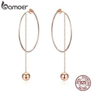 BAMOER Popular 100 925 Sterling Silver Big Circle Round Long Chain Drop Earrings for Women Rock Innrech Market.com