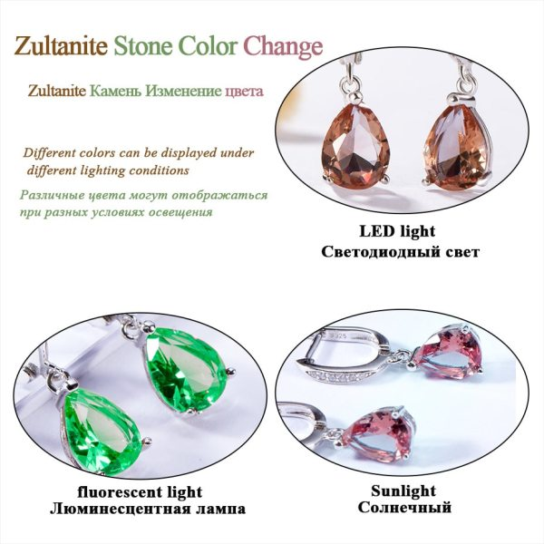 Kuololit Zultanite Gemstone Clip Earrings for Women Solid 925 Sterling Silver Created Color Change Earrings Wedding 3 Kuololit Zultanite Gemstone Clip Earrings for Women Solid 925 Sterling Silver Created Color Change Earrings Wedding Fine Jewelry