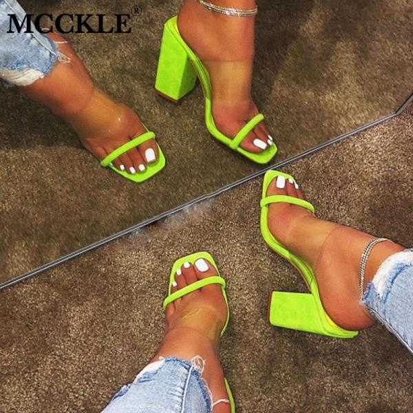 MCCKLE Women Transparent Sandals Ladies High Heel Slippers Candy Color Open Toes Thick Heel Fashion Female MCCKLE Women Transparent Sandals Ladies High Heel Slippers Candy Color Open Toes Thick Heel Fashion Female Slides Summer Shoes
