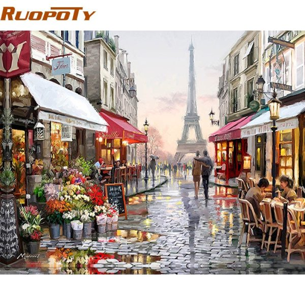 RUOPOTY Paris Street DIY Painting By Numbers Handpainted Canvas Painting Home Wall Art Picture For Living RUOPOTY Paris Street DIY Painting By Numbers Handpainted Canvas Painting Home Wall Art Picture For Living Room Unique Gift 40X50