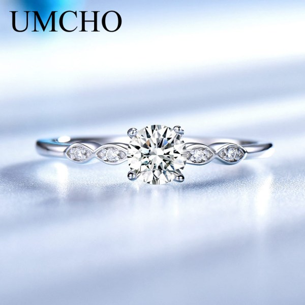 UMCHO Silver 925 Jewelry Luxury Bridal Cubic Zirconia Rings for Women Solitaire Engagement Wedding Band Party 2 UMCHO Silver 925 Jewelry Luxury Bridal Cubic Zirconia Rings for Women Solitaire Engagement Wedding Band Party Gift Jewelry New