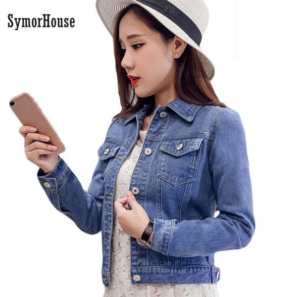2019 Fashion Jeans Jacket Women Spring 2XL XL Spring Autumn Hand Brush Long Sleeve Stretch Short 2019 Fashion Jeans Jacket Women Spring 2XL XL Spring Autumn Hand Brush Long Sleeve Stretch Short Denim Jacket White Pink Coats