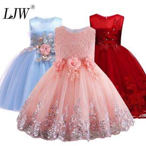 2019 Lace Sequins Formal Evening Wedding Gown Tutu Princess Dress Flower Girls Children Clothing Kids Party Innrech Market.com