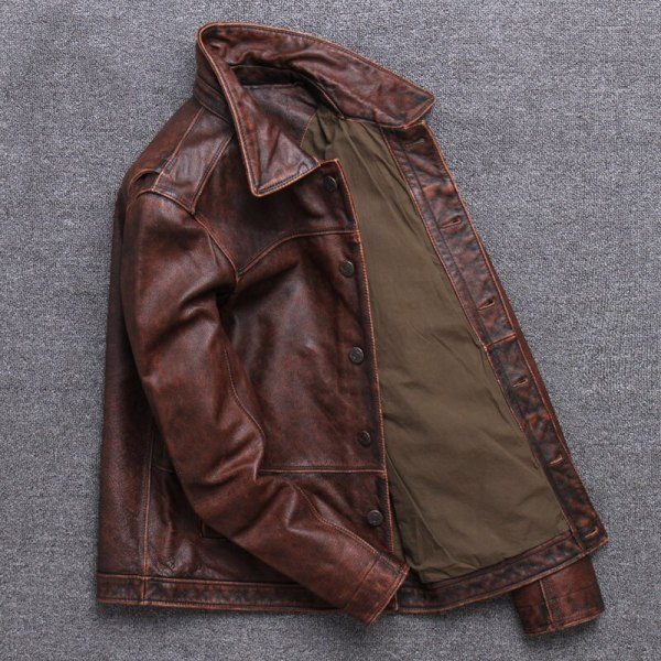 2019 Vintage Brown Men Smart Casual Leather Jacket Single Breasted Plus Size XXXL Genuine Cowhide Russian 1 2019 Vintage Brown Men Smart Casual Leather Jacket Single Breasted Plus Size XXXL Genuine Cowhide Russian Coat FREE SHIPPING