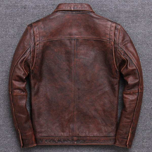 2019 Vintage Brown Men Smart Casual Leather Jacket Single Breasted Plus Size XXXL Genuine Cowhide Russian 4 2019 Vintage Brown Men Smart Casual Leather Jacket Single Breasted Plus Size XXXL Genuine Cowhide Russian Coat FREE SHIPPING