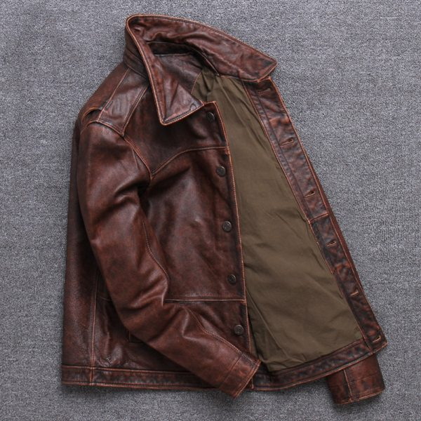 2019 Vintage Brown Men Smart Casual Leather Jacket Single Breasted Plus Size XXXL Genuine Cowhide Russian 5 2019 Vintage Brown Men Smart Casual Leather Jacket Single Breasted Plus Size XXXL Genuine Cowhide Russian Coat FREE SHIPPING