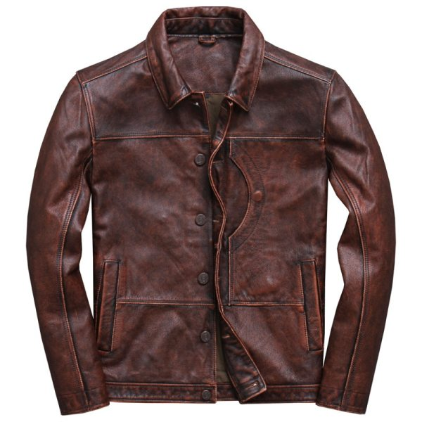 2019 Vintage Brown Men Smart Casual Leather Jacket Single Breasted Plus Size XXXL Genuine Cowhide Russian 2019 Vintage Brown Men Smart Casual Leather Jacket Single Breasted Plus Size XXXL Genuine Cowhide Russian Coat FREE SHIPPING