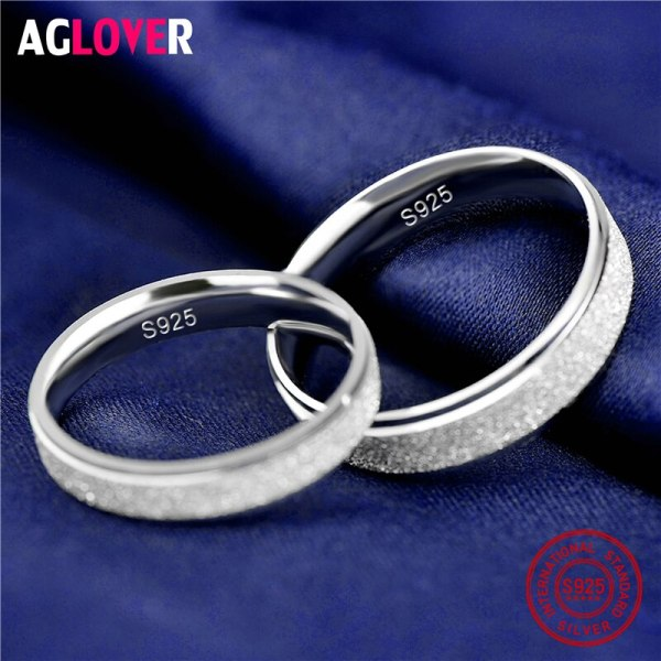 925 Sterling Silver Rings Woman Fashion Simple Couple Matte Rings Charming Female Lovers Jewelry 3 925 Sterling Silver Rings Woman Fashion Simple Couple Matte Rings Charming Female Lovers Jewelry