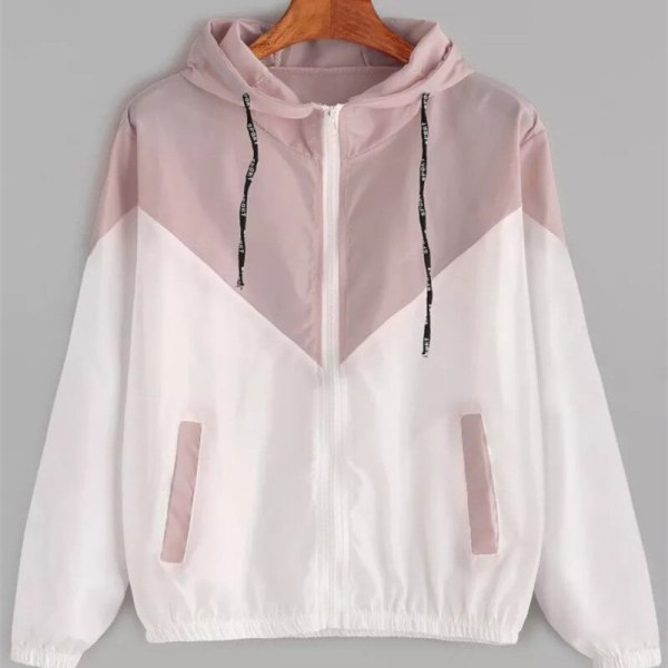 Europe and the United States in the summer 2018 women s clothing color matching elastic waist 2 Europe and the United States in the summer 2018 women s clothing color matching elastic waist hooded jacket