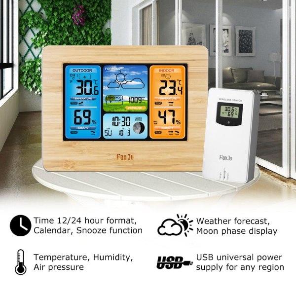 FanJu FJ3373 Weather Station Digital Thermometer Hygrometer Wireless Sensor Forecast Temperature Watch Wall Desk Alarm Clock 1 FanJu FJ3373 Weather Station Digital Thermometer Hygrometer Wireless Sensor Forecast Temperature Watch Wall Desk Alarm Clock