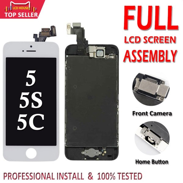 Full Set LCD Display for iPhone 5 5C 5S 5G LCD Screen Touch Digitizer Full Assembly Full Set LCD Display for iPhone 5 5C 5S 5G LCD Screen Touch Digitizer Full Assembly LCD Replacement Pantalla+Home Button+Camera