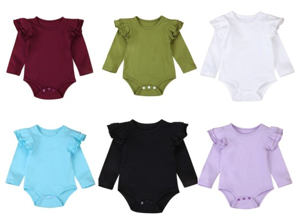 Infant Baby Girls Solid Ruffles Cotton Romper Long Sleeve Outfits Jumpsuit Clothes Infant Baby Girls Solid Ruffles Cotton Romper Long Sleeve Outfits Jumpsuit Clothes