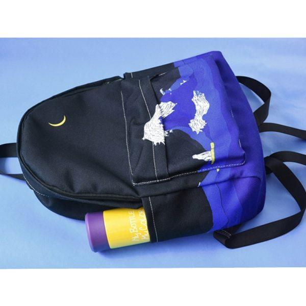 Moon Wood Original Design Black Blue Print Sea Moon Backpack Women Casual Canvas Backpack School Bags 2 Moon Wood Original Design Black Blue Print Sea Moon Backpack Women Casual Canvas Backpack School Bags For Teenager Girls Sac