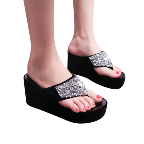 Women Sandals Summer Shoes Women s Slippers Rhinestone Wedges Flip Flops Fashion Clip Toe Beach Shoe 3 Women Sandals Summer Shoes Women's Slippers Rhinestone Wedges Flip Flops Fashion Clip Toe Beach Shoe For Women M23#30
