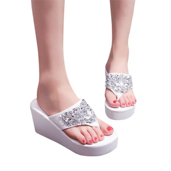 Women Sandals Summer Shoes Women s Slippers Rhinestone Wedges Flip Flops Fashion Clip Toe Beach Shoe 4 Women Sandals Summer Shoes Women's Slippers Rhinestone Wedges Flip Flops Fashion Clip Toe Beach Shoe For Women M23#30