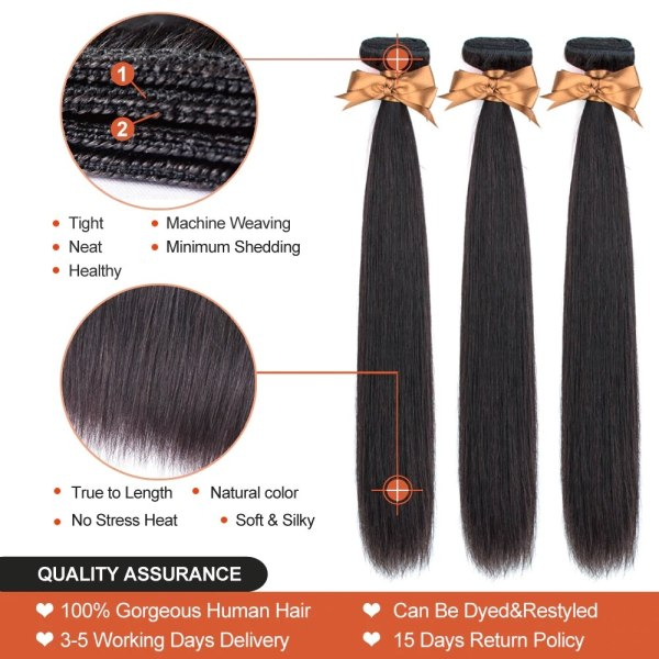 3 Bundles With Frontal Brazilian Straight Human Hair Weave Bundles With Closure Lace Frontal Non Remy 3 3 Bundles With Frontal Brazilian Straight Human Hair Weave Bundles With Closure Lace Frontal Non Remy Hair Fashion Queen
