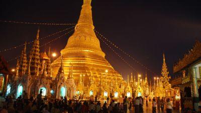 Swedagon Paya notte yangon myanmar