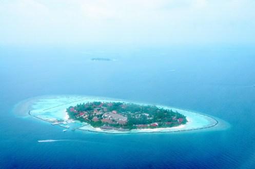 Incantevole panorama dall'alto di un'isola dell'atollo di North Male