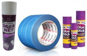 hair spray, tape and glue stick