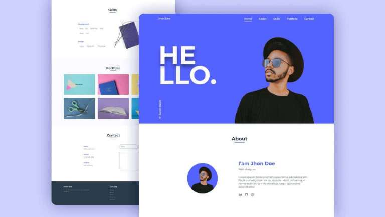 Responsive Personal Portfolio Website Template HTML CSS And JAVASCRIPT