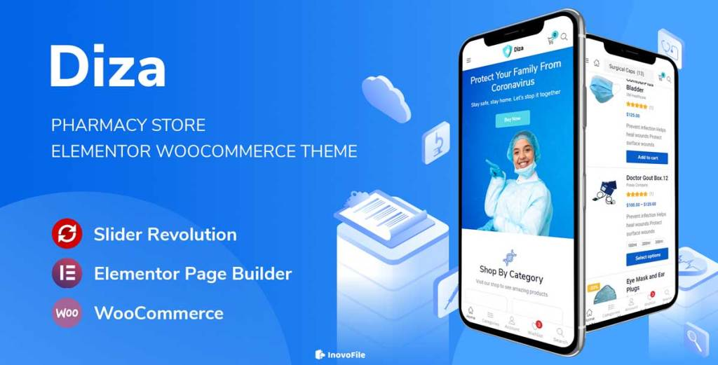 Diza - Pharmacy Store Elementor WooCommerce Theme - InovoFile
