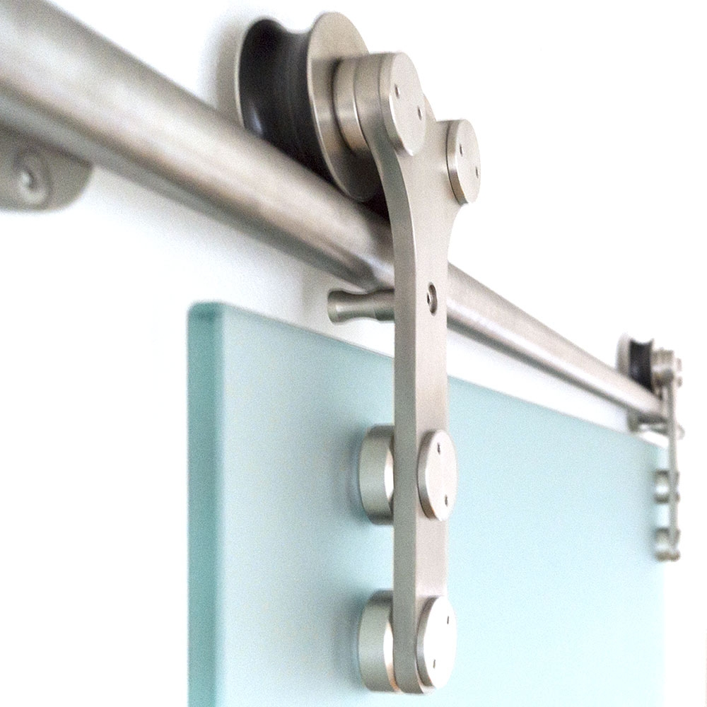 portes coulissantes inox tube butee support de rail