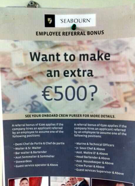 seabourn crew want to make an extra 500 a referral bonus is waiting for you