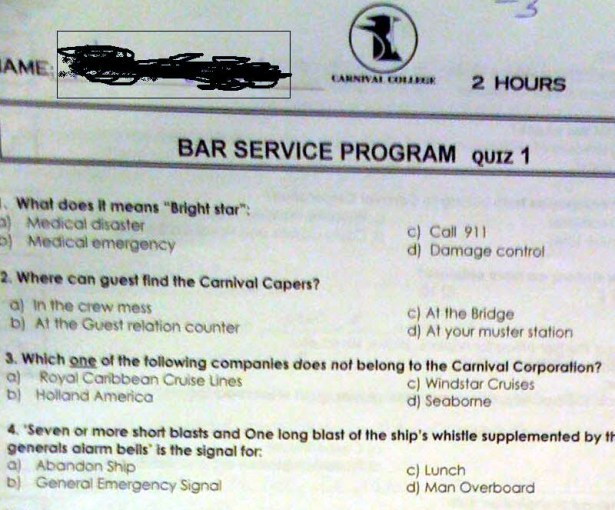 carnival bar service test