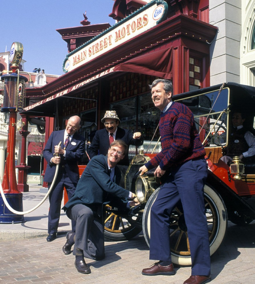 (L to R) Mickey Steinberg, Marty Sklar, L.F. ''Fred'' Benckenstein, Tony Baxter at Disneyland Paris. Courtesy Walt Disney Imagineering.